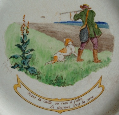 assiette chasse caille, terre de fer, chasse caille