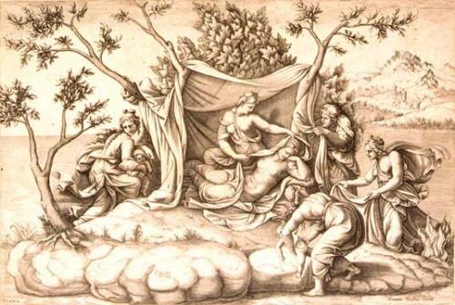 Leto donnant naissance à Appollon et Artemis
