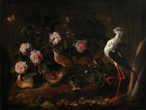 peinture italienne  vers 1656, Nature morte avec des cailles, un hibou et une échasse blanche, musée