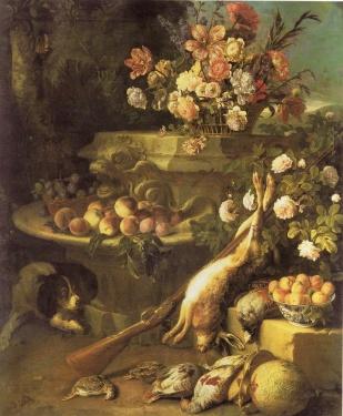 Gibiers, fleurs, Fruits et un chien
