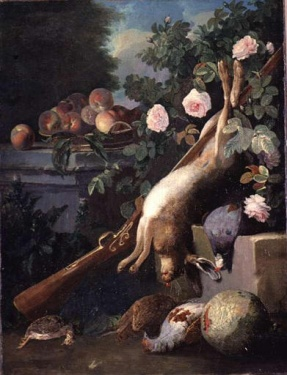 Un lievre, un fusil, des perdrix et autres oiseaux , placés en bas d'un rosier