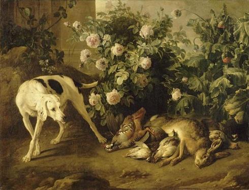Chien gardant du gibier auprès d'un buisson de roses