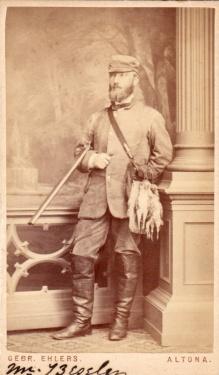 Portait d'un chasseur de cailles allemand au 19eme siècle