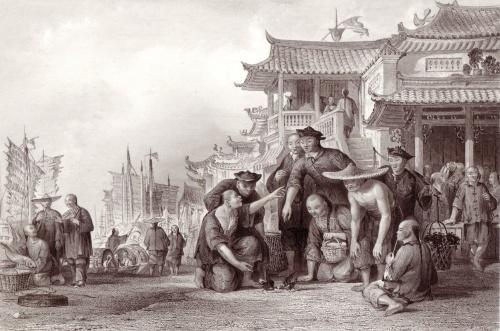 canton barge men fighting quails