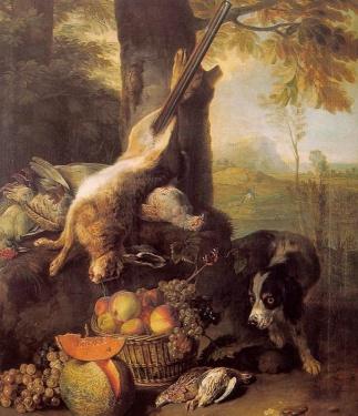 nature morte avec un lièvre et des fruits