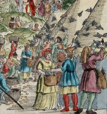 Bible Luther , détail montrant l'arrivée des cailles